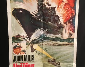Original 1962 The Valiant One Sheet Movie Poster John Mills, Navy, Ship, Boat, Captain, War, WW2,