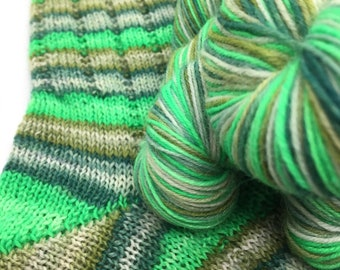 Hand dyed self striping sock yarn - Chop Down All The Woods
