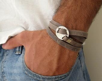 Men's Bracelet - Men's Leather Bracelet - Men's Jewelry - Men's Gift - Husband Gift - Boyfriend Gift - Present For men - Gift For Dad - Male