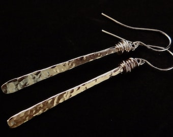 Silver dangle wire wrapped earrings Icicle sterling silver hammered silver long dangling shiny silver minimalist earrings gift idea for her