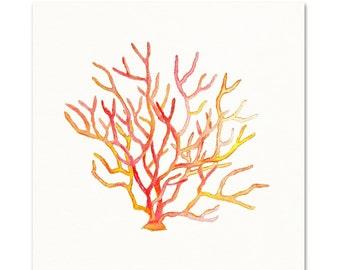 Red/Yellow Coral Watercolor Art Print. Coastal Watercolor Painting. Red Coral Watercolor Art. Beach House Art Print. Coastal Living Room Art