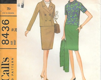 CLOSE OUT/ McCalls 8436 UNCUT 1960s Mod Misses Suit and Blouse Vintage Sewing Pattern Size 16 Bust 36 Jackie Kennedy
