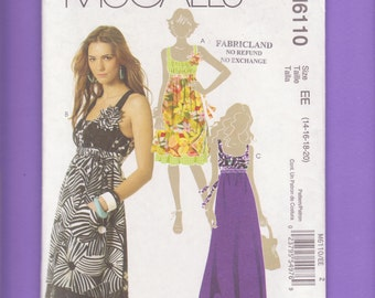 Empire Waist, Shoulder Strap Sundress Sewing Pattern/ McCall's 6110 Tied Back, Gathered Waist, flared Summer Dress/ Plus Size 14 16 18 20