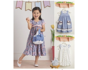 GIRLS DRESS PATTERN!  Dress or Sundress with Matching Bunny Purse and Pockets / Sizes 3 to 8