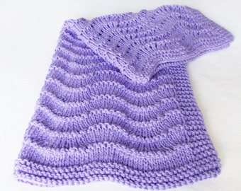 Ripple Afghan Baby Blanket, Hand Knit Amethyst Purple Chunky Warm Winter Toddler Throw Newborn Infant Girl Shower Gift Grandma Lap Cover New