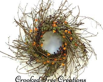 Fall Wreath, Bittersweet Wreath, Harvest Wreath, Fall Door Décor, Autumn Wreath, Fall Floral, Autumn Decor, Bittersweet, Rustic Wreath