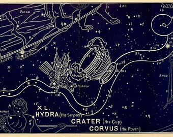 1911 Antique print of STARS. CONSTELLATIONS. Hydra. Crater. Astronomy print. Zodiacal Constellations. Zodiac. 116 years old celestial chart