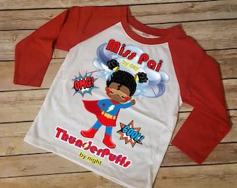 ThunderPuffs Superhero African American Girl Shirt