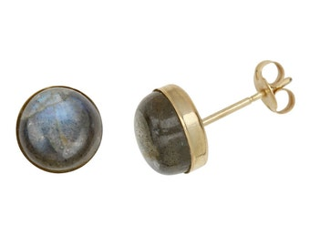 Round Gem Studs, 14K Gold-Filled, 8mm - Chalcedony, Labradorite, Rainbow Moonstone