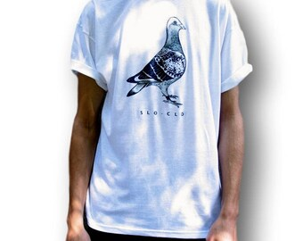 Pigeon Shirt, Men's Indie Clothing, Women's Indie Top, Women's Indie Clothing, Men's Bird T-Shirt, Men's Alternative T Shirt, SloClo