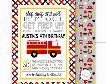 Fire Truck Birthday Invitation -  Firefighter Invitation - Fireman Invitation - Fire Truck Invite - Fire Truck Birthday - Red Fire Truck