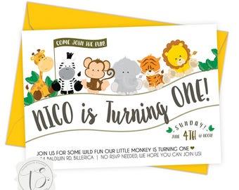 Baby Animal Safari First Birthday Invitations