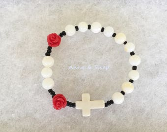 Girls rosary bracelet White shell gemstone with Red rose,Kids rosary,Catholic rosary,first communion,Easter gift