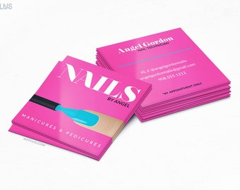 Nail Technician Square Business Cards - Salon - Design and Printing - 16PT UV - 250, 500, 1000, 2500 | FREE Shipping |