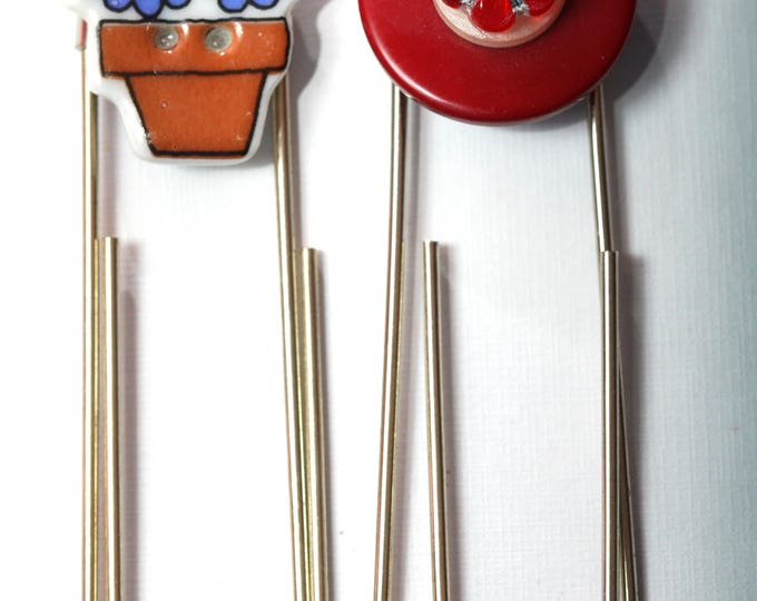 Recycled Button Paperclip Bookmark, Gardener Flower Pot Bookmark and Red Flower Bookmark, Giant Paperclip Style Bookmark with Buttons