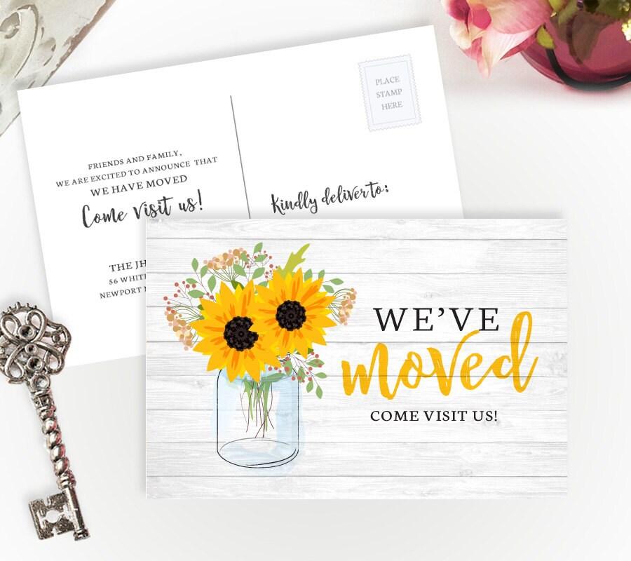 sunflower we ve moved cards printed change of address