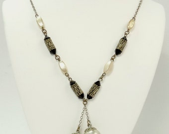 Vintage Art Deco Pearl Necklace French Jet Glass Bead Lariat Necklace