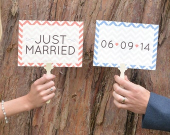 Wedding Paddles Just Married | Wedding Photo Booth Props | Just Married Sign