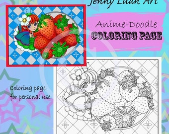 Strawberry Fairy Picnic Anime manga Doodle Coloring page