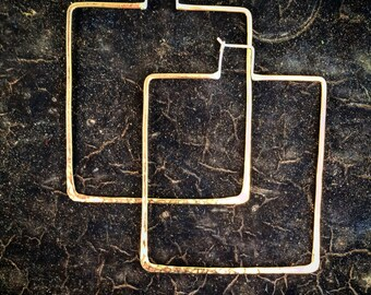 Large Square Hoops Hammered Brass Sterling Silver Square Hoops Geometric Hoops Rustic Hoop Earrings Hip Hop Jewelry Large Hoops Square Hoops