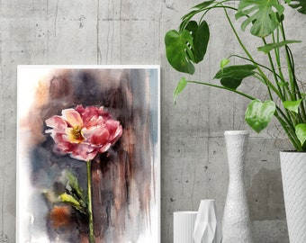 Pink peony fine art print, peony watercolor painting art, rustic abstract background modern floral wall art print