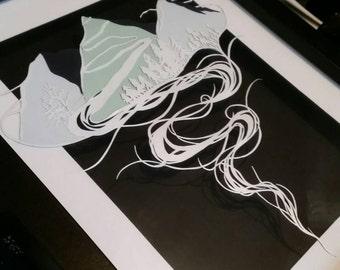 Misty Mountain Art - Modern Artwork - Original Design - Framed Papercut - Dream Mountains