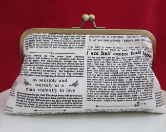 Clutch Purse, Newspaper Vintage Purse, Bridesmaid Clutch, Wedding Clutch, Bridesmaid Gift, Newspaper Purse, Bridesmaid Thank you