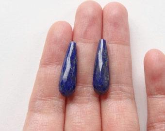 Dark Blue Lapis Lazuli Half Top drilled Faceted 7x22 mm Teardrops One Pair K7075