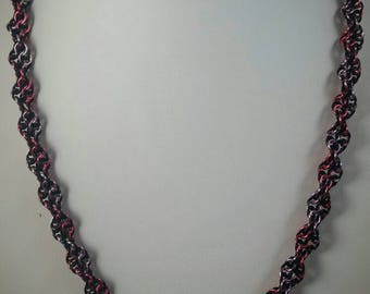Rose, Pink, and Black Double Helix DNA Chainmaille Necklace Chainmail