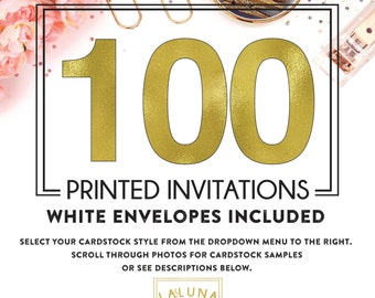 Set of 100 printed invitations / cards
