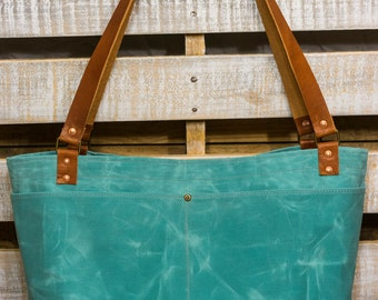 Teal and Gray Waxed Canvas and Leather Tote