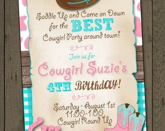 Cowgirl Invitation Cowgirl Birthday Party Invitation Cowgirl Party Invitation