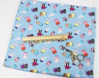 "100x100cm/39""x39"" Peppa Pig and Friends Cotton Plain Fabric"