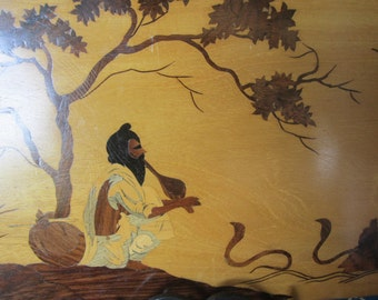 Wooden Marquetry Inlay Picture/Plaque Snake Charmer