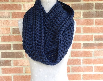 Navy Blue Infinity Scarf | Navy Blue Loop Scarf | Navy Blue Scarf | Crochet Scarf | Warm and Soft Scarf | Wrap Scarf | Made to Order