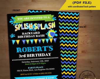 Splish Splash birthday bash invitation backyard summer boy pool party chalkboard invite Instant Download YOU EDIT TEXT and print invite 5290