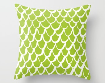 Lime and White Mermaid Throw Pillow . Lime Pillow . Green Cushion . Mermaid Pillow . Green Pillow . Lime Mermaid Cushion 14 16 18 20 inch