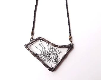 Spiderweb necklace, real cobweb resin, spiderweb resin, caught in resin, triangle necklace, gothic necklace, captured in resin