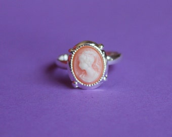 Tiny Pink Victorian Lady Silver Cameo Ring