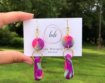 90's windbreaker neon dangle earrings