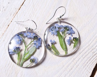 Forget-me-not earrings -  resin & sterling silver