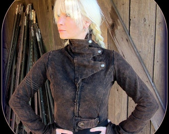 Steampunk Coat ~ Post Apocalyptic, Burning Man Cropped Jacket w/ Brass ~ Playa Wear, Festival style,  Airship Pirate Garb Stonewash Mad Max
