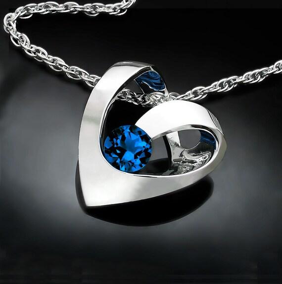 blue sapphire necklace, September birthstone, heart pendant, anniversary gift, valentine necklace, fine jewelry - 3401