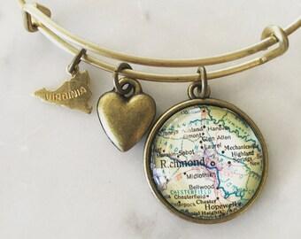Richmond Virginia Map Charm Bracelet - Personalized Map Jewelry - Hometown Pride - Travel - Wanderlust