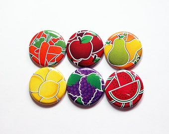 Fruit Vegetable magnets, Fridge magnets, stocking stuffer, Fruit magnets, Vegetable magnets, food magnets, apple, carrot, grape (8377)