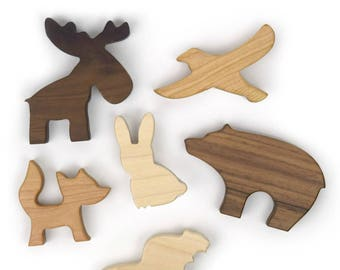 Woodland Animal Play Set - Baby Shower Gift - Waldorf Toys - Woodland Nursery - Wooden Toy