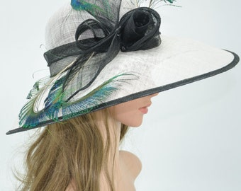 White  with Black Kentucky Derby Hat, Church Hat, Wedding Hat, Easter Hat, Tea Party Hat Wide Brim Woman's Sinamay  Hat