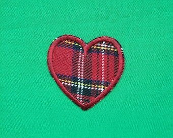 Red tartan heart iron on embroidered patch