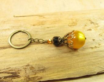 Keyring Sun BALL bag charms vintage bronze brass, black orange yellow Halloween Moonlight opulent striking