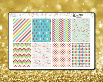 2 Dollar Tuesday Christmas Bright Holiday EC Full Boxes Vertical Planner Stickers Erin Condren Life Planner Stickers ECLP Stickers